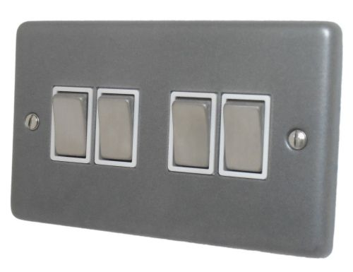 G&H CP204 Standard Plate Pewter 4 Gang 1 or 2 Way Rocker Light Switch